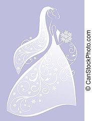 menyasszony, vektor, ruha, esküvő