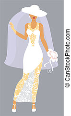 menyasszony, white kalap