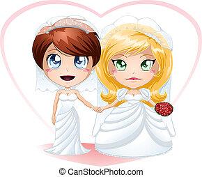 menyasszonyok, házas, leszbikus, felruház, kinyerés