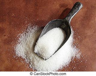 merítőkanál, cukor