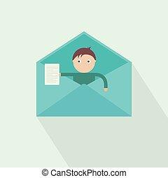 message., vektor, bír, új, kapott, ön, mail.