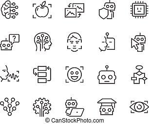 mesterséges, egyenes, értelem, ikonok