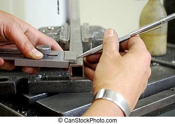 metalworker, mérés, darab, fém, fúrás