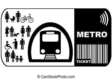 metró, háttér, elszigetelt, cédula, fehér