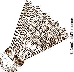 metszés, antik, tollaslabda, ábra