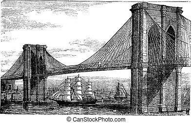 metszés, bridzs, egyesült, szüret, states., ábra, folyó, brooklyn, new york, kelet, 1890s
