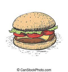 metszés, burger, mód, vektor, ábra