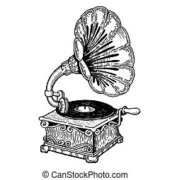 metszés, gramofon, vektor, mód