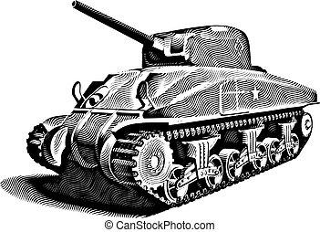 metszés, harckocsi, amerikai