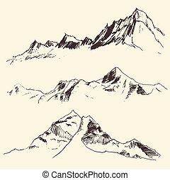 metszés, hegyek, skicc, vektor, körvonal