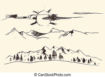 metszés, hegyek, vektor, erdő, körvonal