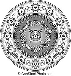 metszés, jelkép, kölcsönhatás, alchemical, -, sheme, ábra, stilizált, vektor