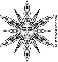 metszés, nap, jelkép, -, ábra, stilizált, alkímia, vektor