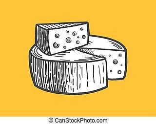metszés, sajt, mód, vektor, ábra