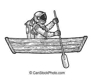 metszés, skicc, űrhajós, csónakázik