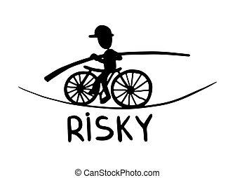 metszés, skicc, kockázatos, szórakozottan firkálgat, mód, fekete tinta, fehér, rajz