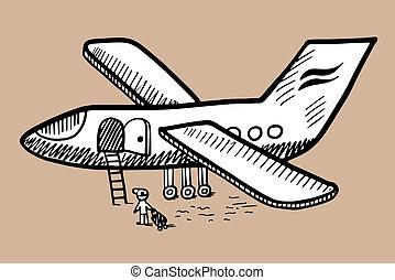 metszés, skicc, szórakozottan firkálgat, mód, repülőgép, fekete tinta, fehér, rajz
