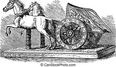 metszés, szüret, római, versenyszekér