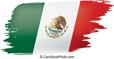 mexican lobogó, ábra, háttér., vektor, fehér