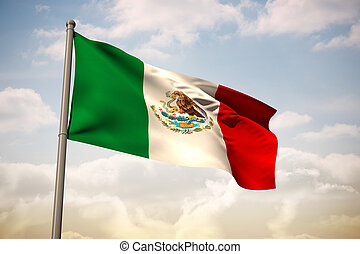 mexikó, összetett, nemzeti lobogó, kép
