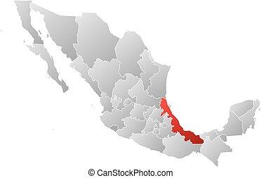 mexikó, térkép, veracruz, -