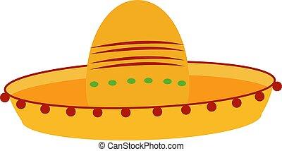 mexikói, ábra, háttér., vektor, kalap, fehér