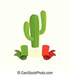 mexikói, ábra, vektor, háttér, fehér, kaktusz