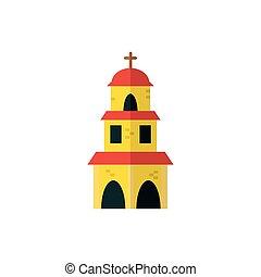 mexikói, elszigetelt, vektor, tervezés, templom