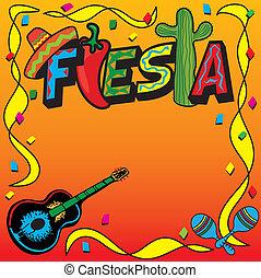mexikói, fiesta, fél, meghívás