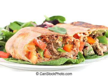 mexikói, hússzelet, burrito