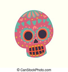 mexikói, koponya, ellen-, dia, motívum, cukor, vektor, ábra, muertos, karikatúra