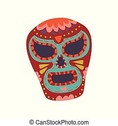 mexikói, koponya, színes, ellen-, dia, motívum, cukor, vektor, ábra, muertos, karikatúra