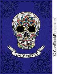 mexikói, koponya, színes, ellen-, dia, motívum, köszönés, vektor, tervezés, ábra, poszter, elem, virágos, cukor, muertos, kártya