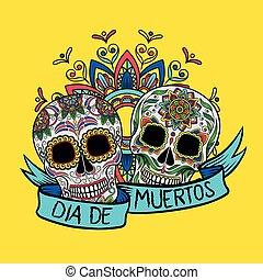 mexikói, poszter, ellen-, dia, motívum, cukor, vektor, tervezés, ábra, virágos, elem, koponya, muertos, kártya, köszönés