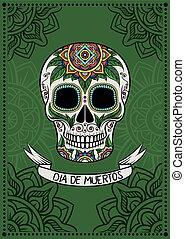 mexikói, poszter, koponya, ellen-, dia, motívum, cukor, vektor, tervezés, ábra, háttér, virágos, zöld, elem, muertos, kártya, köszönés