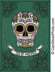 mexikói, poszter, koponya, ellen-, dia, motívum, cukor, vektor, tervezés, ábra, virágos, elem, muertos, kártya, köszönés