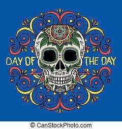 mexikói, poszter, koponya, köszönés, motívum, cukor, nap, vektor, tervezés, ábra, virágos, elem, nap, kártya