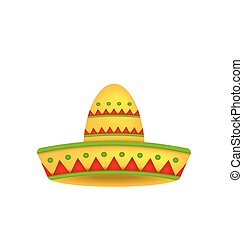 mexikói, szombréró, elszigetelt, háttér, white kalap