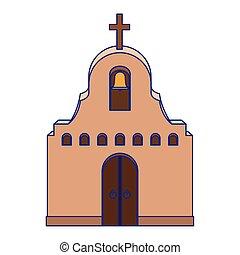 mexikói, tervezés, elszigetelt, vektor, templom