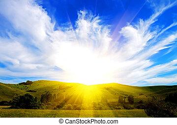 mező, ég