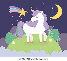 mező, éjszaka, csillag, csinos, hold, karikatúra, egyszarvú, képzelet, álmodik, varázslatos
