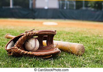 mező, üt, kesztyű, öreg, baseball