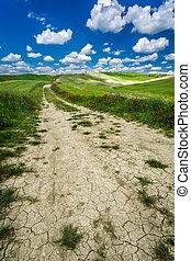 mező, csattan, út, homokos, ólmozás