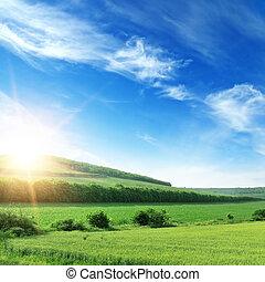 mező, eredet, napnyugta