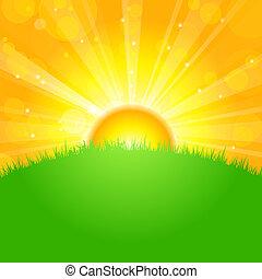 mező, felett, napkelte