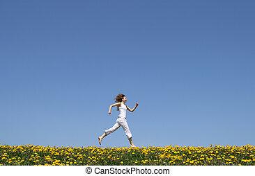 mező, futás, boldog, leány, gyermekláncfű