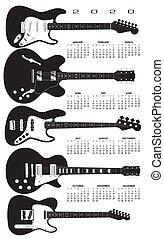 mező, guitars., elektromos, naptár, 2020
