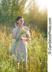 mező, gyönyörű, menstruáció, kisasszony