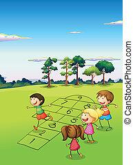 mező, gyermekek játék