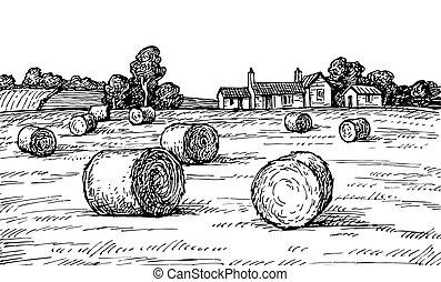 mező, haystacks.